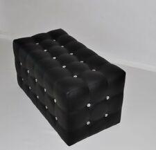Sitzwürfel Sitzhocker Sitzbank Fußhocker  Akrylkristalle  Leder Schwarz Neu