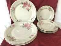 "Gibson Roseland Set of 4 Each Dinner Plates 10 1/2"" & Salad Plates 7 1/2"""