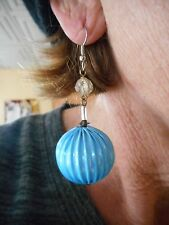Authentic Vintage 1960's Mod Gogo Baby Blue Earrings w/New Pierced Wires