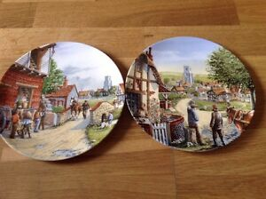 Royal Doulton 2 Limited Edition Collectors Plates Journey Through the Village.