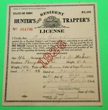 Antique Rare 1926 Resident Ohio Hunting and Trappers License  -  #9 - Cloth Back