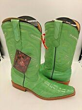 Men's Cowboy Boots Genuine Eel Skin Pistachio Green 8.5
