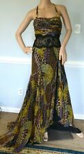 Gianni VERSACE Lace Panel Ruched Logo Long Maxi Gown Evening Dress US 2 4  IT 38