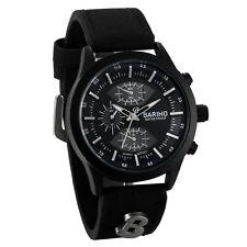 Mens Black PU Leather Band Analog Quartz Sports Wrist Watch Fashion Cuff Watches