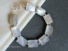Shiny Silvery Grey Black Lip Shell Flat Oblong Beads & Sterling Silver Bracelet