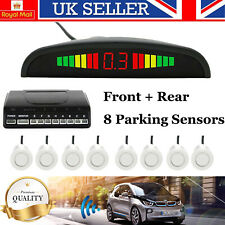 White Front and Rear 8 Sensors Car Reverse Parking Kit LED Buzzer Alarm + Switch