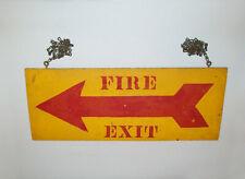 Old Antique Vtg C 1900 Original Folk Art Fire Exit Hand Painted Wooden Sign Nice
