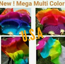 Silk Fan Veils Belly Dance 100% Silk New 5 Color Combo Quick Shipping USA