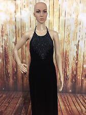 Rampage Vintage Formal Cocktail Black Velvet Glitter Halter Dress Sz M Jrs