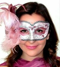 Masquerade Mask from Venice - OVERNIGHT 2U MADE IN ITALY Annalyse Pink Silver