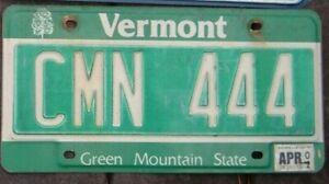 VERMONT 2001  License Plate -  Man Cave -  Bar - Garage - CMN 444  Triple 4 s