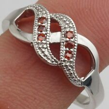 Size 10 Red Round Cubic Zircon White Gold Plated Ring +Gift Pouch.(02)