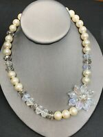 Vintage White JS Pearl Clear Aurora Borealis Glass Crystal Beaded Necklace 18""