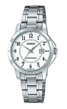 Casio Women's Mineral Crystal White Dial Stainless Steel Watch LTP-V004D-7B