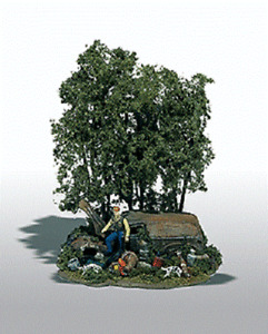 Woodland Scenics # 104 Mini-Scene(TM) Unpainted Metal Kit   The Hunter  HO MIB