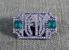 Vintage Marcasite Brooch, Pin, Emerald Colored Stones and Monogram:  F H