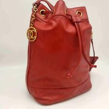 Authentic CHANEL Red Lambskin CC Drawstring Bucket Bag + Pouch
