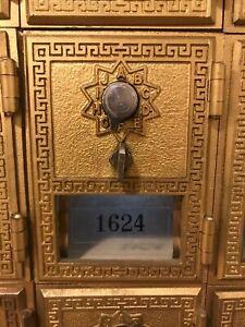 Vintage Antique Brass US Post Office PO Mail Box Doors.  Combo Locks.  VG