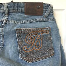 Apple Bottoms Women's Jeans Denim Blue Stretch Pants Embroidered Pockets 7/8