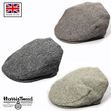 Genuine Harris Tweed Traditional Herringbone Scottish Bunnet Flat Cap