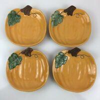 "Set of 4 Williams Sonoma Pumpkin Shape Dessert 7"" Plates Halloween Thanksgiving"