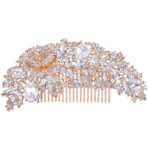 Desire Accessories Rose Gold Vintage Style Leaf Shaped Crystal Bridal  Hair Comb