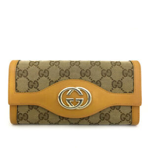 Auth GUCCI GG Logo Pattern Beige Canvas Leather Long Bifold Wallet /70913