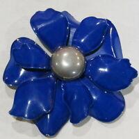 "Vintage Enamel Metal Flower Power Brooch RETRO Blue Silver 2.75"""