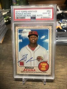 RONALD ACUNA JR 2017 TOPPS HERITAGE (MINOR LEAGUE - REAL ONE AUTO) #RA PSA 10