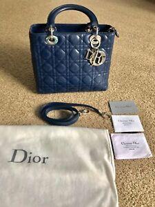 Authentic Christian Lady Dior Navy Blue Calfskin Medium Tote Handbag