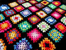 Handmade Retro Black MultiColoured Granny Square Crochet Baby Blanket Nursery