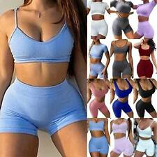 Women Sports Crop-Top Shorts Pants Gym Cycling Fitness Tracksuit Set Lounge Wear