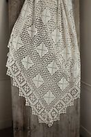 Coverlet Vintage French handmade bed cover off-white cotton lace blanket 80X90in