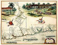 Antique Map of Brazil Capitania Paraiba & Rio Grande 1662 J Blaeu Reproduction
