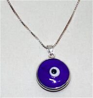 Sterling Silver Murano Glass Blue Evil Eye Charm, Chain