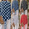 Damen Langarm Shirt Bluse Gepunktet Lange Lose Strand Party Freizeit Hemd Top