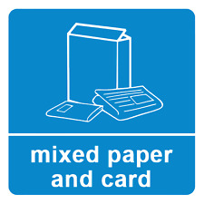 4 x Mixed Paper & Card - Recycling Sign Self Adhesive Vinyl Waterproof Sticker