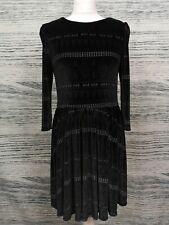 Topshop Black Velvet Geo Print Long Sleeve A Line Dress Size 14