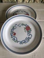 """2 Vintage Summer Fair Corelle Corning 10-1/4"""" Dinner Plate Blue Rose Rose Vtg"""