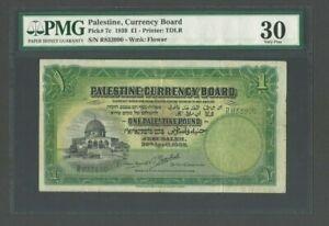 PALESTINE P-7c , 1939 , 1 Pound  PMG 30 VF Banknote Jerusalem Dome