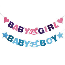 BABY SHOWER BOY BUNTING GARLAND HANGING BANNER FLAGS BIRTHDAY PARTY DECOR
