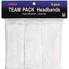 6 WHITE TERRY SWEATBAND Cotton Headbands Workout Sport EXERCISE SWEAT HEAD BANDS