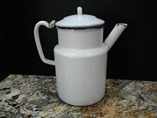 Vintage White w/ Blue Trim Enamelware Coffee Pot-Hinged Lid-Kitchenware/Cookware