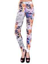 Women's Fashion Cute Cat Print Leggings Footless Stretchy Casual Pencil Pants