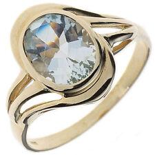 Ringe mit Edelsteinen echten Aquamarin aus Gelbgold für Damen