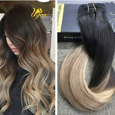 Remy Clip in Human Hair Extensions 7pcs Ombre Blonde Straight Clip On Hair 100g