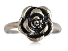 Silver Tone Petite Antique Finish Carved Rose Flower Adj LJH Ring