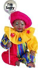 Clown Pierre New Porcelain Afro African American Brown Black Dark Baby Boy Doll