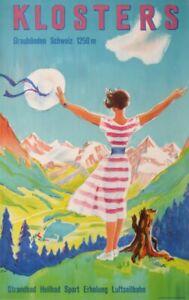 LAUBI HUGO KLOSTERS GRAUBUNDEN SCHWEIZ SUISSE SWITZERLAND 1954 VINTAGE POSTER