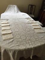 "BANQUET Tablecloth Madeira Cutwork Embroidered Appliqué 118"" X 64"" /10 NAPKINS!"